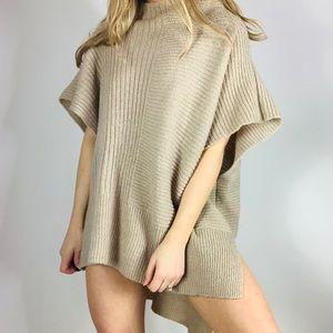 FREE PEOPLE camel hi low oversized poncho sweater